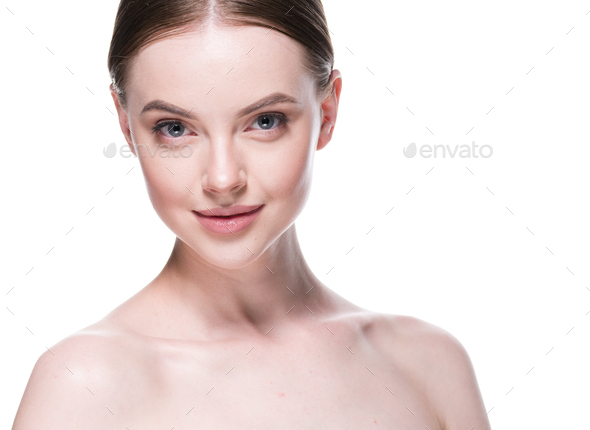 Woman healthy skin beautiful face skin care - Stock Photo - Images