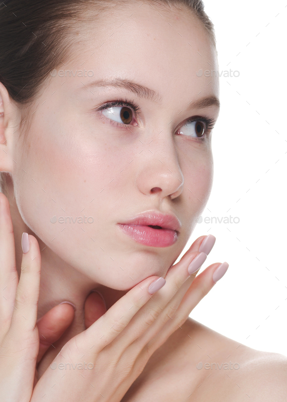 Beautiful woman young healthy skin natural make up - Stock Photo - Images