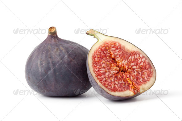 One and a half fresh ripe fig - Stock Photo - Images