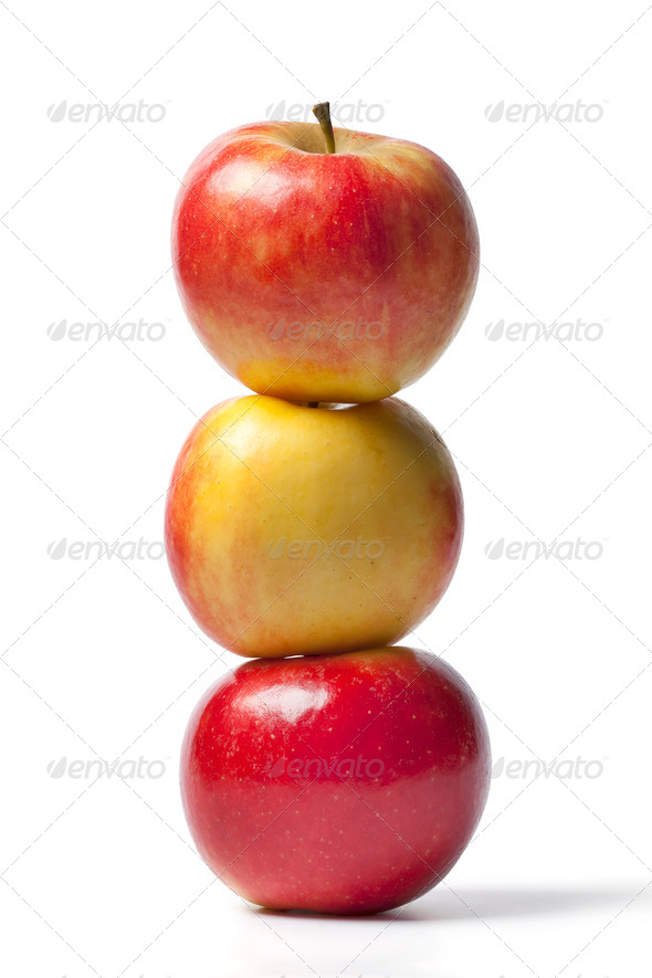 Three Elstar apples - Stock Photo - Images