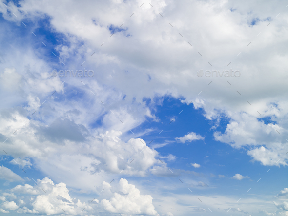 Blue sky with white clouds. Cloudscape. Summer background - Stock Photo - Images