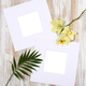 Paper frames with yellow orchid and palm leaves - PhotoDune Item for Sale