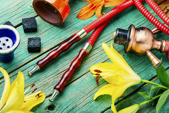 Hookah with flower aroma. - Stock Photo - Images