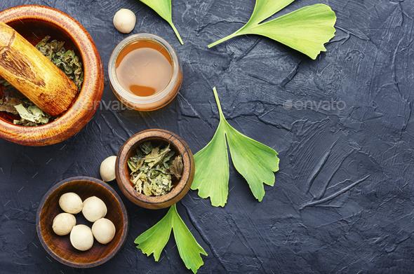 Ginkgo biloba in herbal medicine - Stock Photo - Images