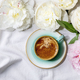 Coffee and peonies flowers - PhotoDune Item for Sale