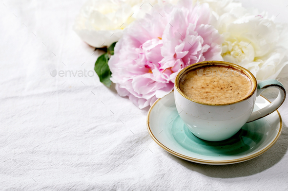 Coffee and peonies flowers - Stock Photo - Images