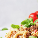 Prepared pasta with meat sauce with tomatoes and basil - PhotoDune Item for Sale