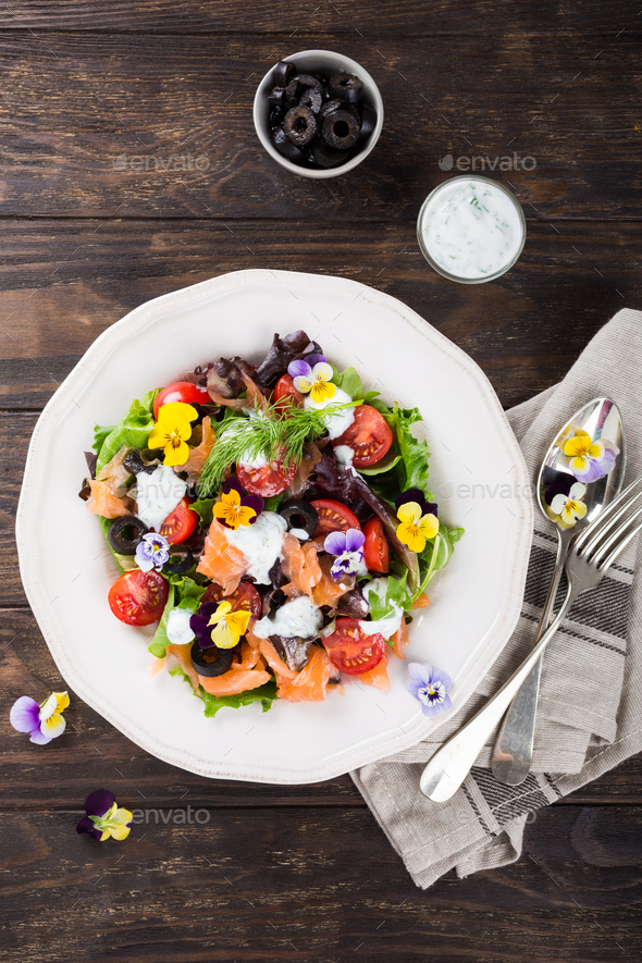 Fresh salad with smoked salmon - Stock Photo - Images