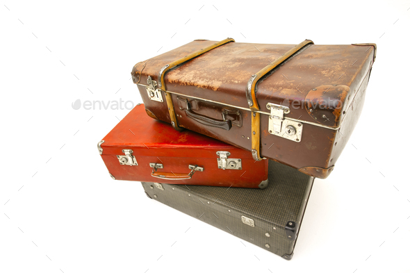 Vintage suitcase over white background. Isolated on white background - Stock Photo - Images