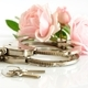 Close-up chrome handcuffs and keys - PhotoDune Item for Sale