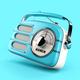 Blue vintage radio on blue background. - PhotoDune Item for Sale