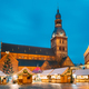 Riga, Latvia. Christmas Market On Dome Square With Riga Dome Cathedral. Christmas Tree And Trading - PhotoDune Item for Sale