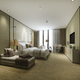 3d rendering luxury bedroom suite in resort high rise hotel with cushion - PhotoDune Item for Sale