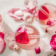 Rose lemonade with ice and pink rose petals, wide composition - PhotoDune Item for Sale