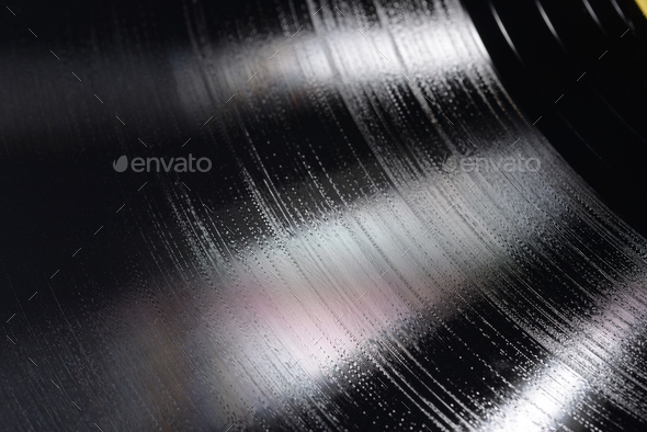 Close-up shot of 12-inch LP vinyl record groove. - Stock Photo - Images