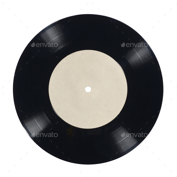 7-inch vinyl record isolated on white. - Stock Photo - Images