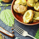 Home baked potato with greens. - PhotoDune Item for Sale