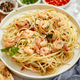 Spaghetti with shrimps on white ceramic plate and served with glass of white wine - PhotoDune Item for Sale