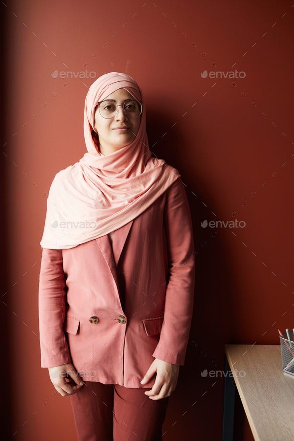 Portrait of Woman Wearing Headscarf in Office - Stock Photo - Images