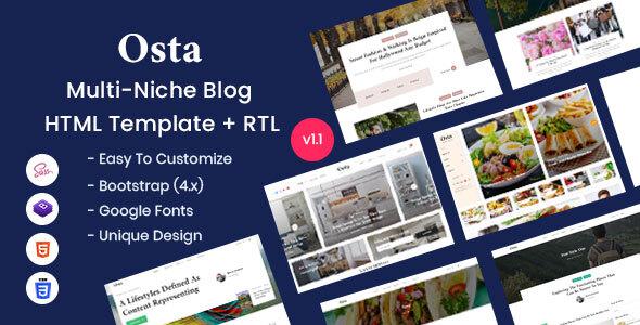 Osta - Multi-Purpose Blog HTML Template