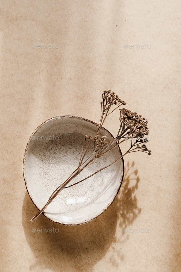 Minimalist ceramic bowl with dry plant over kraft paper background. Copy space, flat lay. - Stock Photo - Images