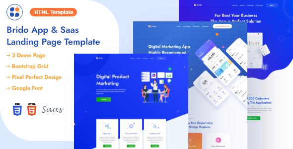 Brido - App & Saas Landing Page HTML Template