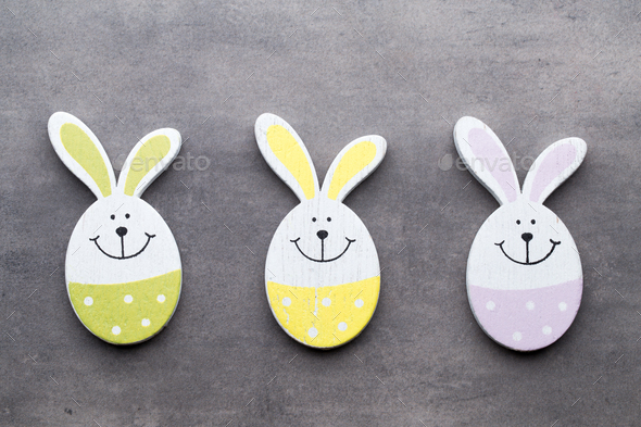 Easter decor on a wooden background. Pattern. - Stock Photo - Images