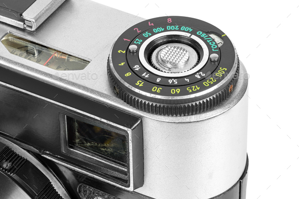 Closeup of vintage camera controls - Stock Photo - Images