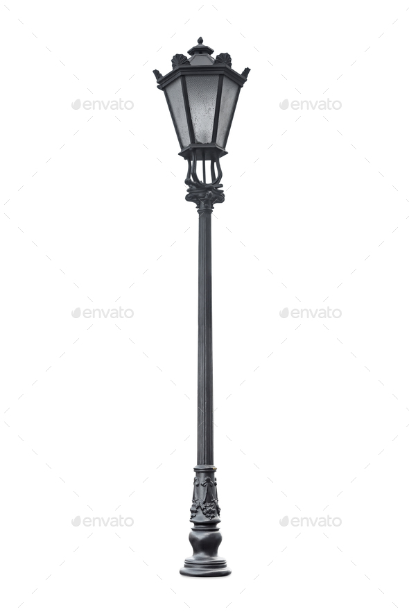 Decorative street lantern isolated on white background - Stock Photo - Images