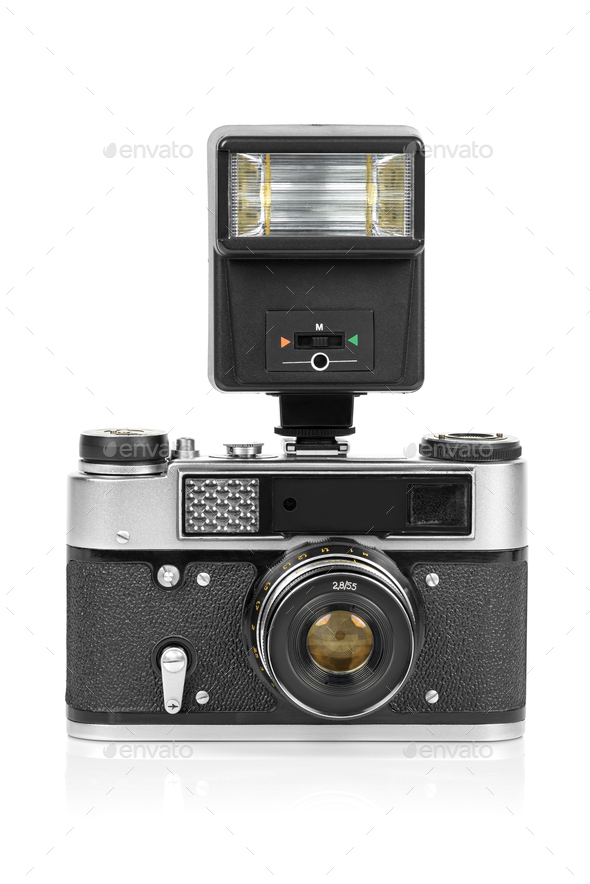 Vintage analog camera with manual flash light - Stock Photo - Images