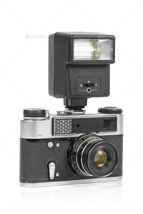 Vintage analog camera with manual flash light - Stock Photo - Images
