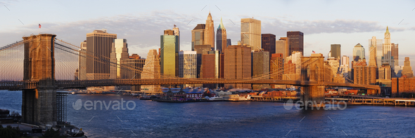 Lower Manhattan and the Brooklyn Bridge - Stock Photo - Images