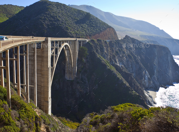 Bixby Bridge Crossing a Chasm - Stock Photo - Images