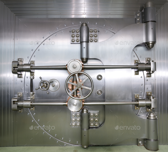 Closed Door to a Bank Vault - Stock Photo - Images