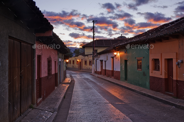 Empty Town Street at Dawn - Stock Photo - Images