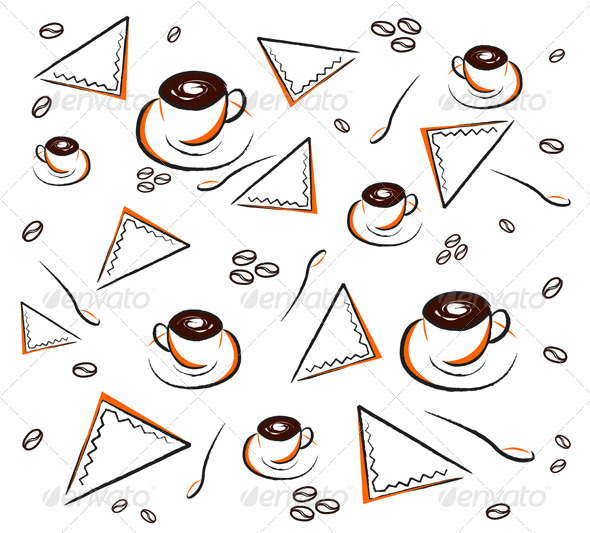Coffee pattern on white - Backgrounds Decorative