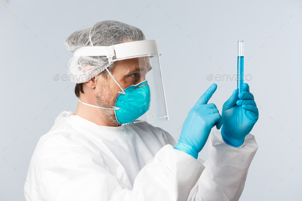 Covid-19, preventing virus, healthcare workers and vaccination concept. Profile of doctor in - Stock Photo - Images