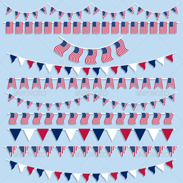 American flag bunting - Objects Vectors