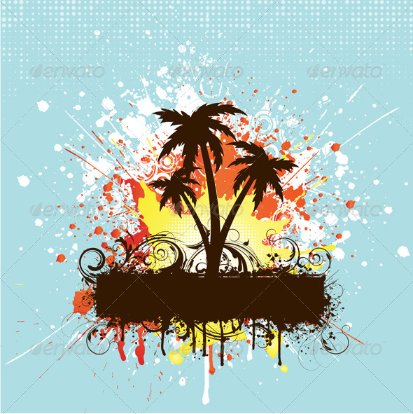Grunge Palm Trees Background - Backgrounds Decorative