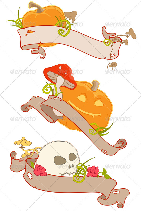 Halloween Banners with Ribbons - Halloween Seasons/Holidays