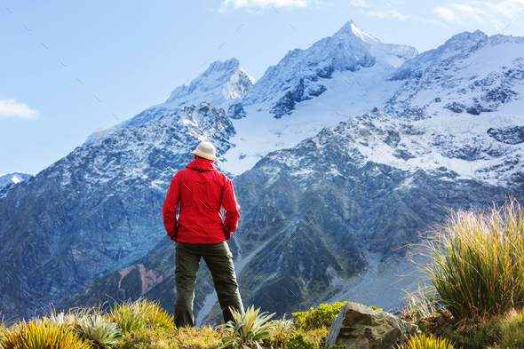 Hike in New Zealand mountains - Stock Photo - Images