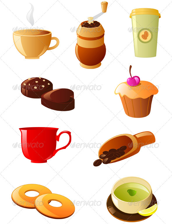 Coffee and Tea Icon Set - Food Objects