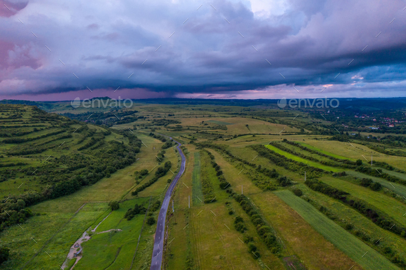 Aerial view of a storm and clouds - Stock Photo - Images