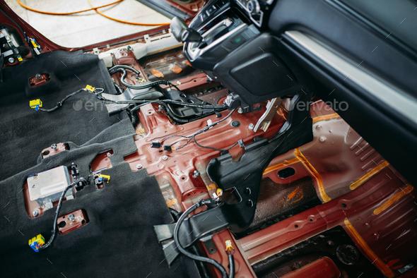 Deep car tuning, disassembled vehicle interior - Stock Photo - Images