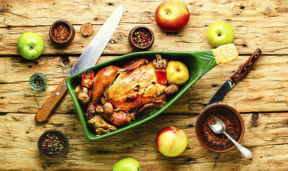 Chicken roast with apples - Stock Photo - Images