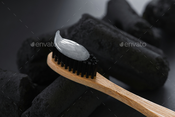 Bamboo Charcoal Toothbrush with Toothpaste - Stock Photo - Images