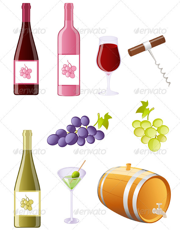 Wine and Grapes Icon Set - Food Objects