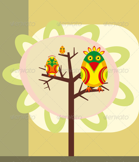 Birds on a Tree Branch  - Decorative Vectors