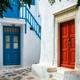 Greek Mykonos street on Mykonos island, Greece - PhotoDune Item for Sale