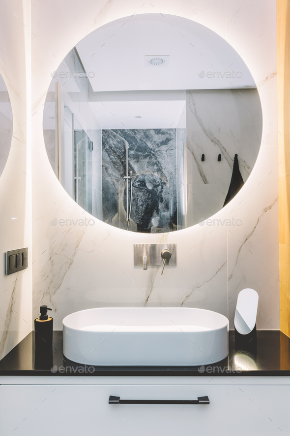Modern Sink And Round Mirror With Led, Luxury Vanity Mirror With Lights